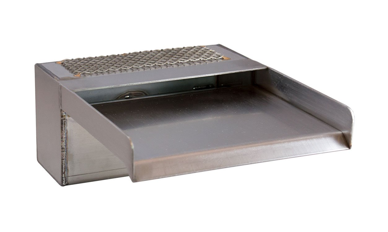 Zanardi 8'' Open Top Waterfall Spillway Scupper for Water Features, Pools, Fountains - Stainless Steel (8'')