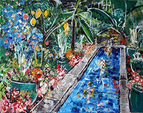 2016-92 Blue Pool Botanic Garden - Painting, Original Art, 20 x 16 - Mall State Garden The