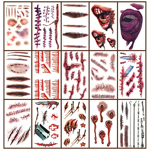 Zombie Makeup Tattoos Halloween, 15 Sheet Temporary Scar Waterproof Face Sticker Realistic Fake Makeup Kit, Vampire Bite Tattoo, Healthy Makeup for Costume, Wounds, Decoration, Cosplay Party