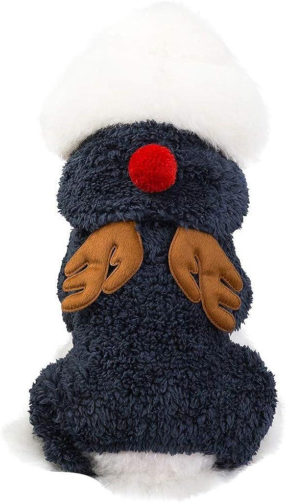 Allegorly Haustier Pullover Hund Katze Welpen Hoodie Mantel S/ü/ß Weihnachtselch Strickjacke Hundejacke Hundepullover mit Kapuze Wintermantel Winterjacke Jumpsuit Shirt f/ür Katzen Kleine Hunde