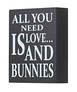 JennyGems Wooden Box Sign - Bunny Rabbit Home Decor Gift Collection - All You Need is Love and Bunnies