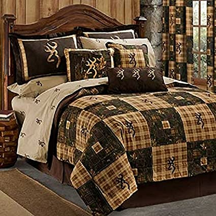 Browning Country 4 Piece King Size Comforter Set Matching Shower Curtain