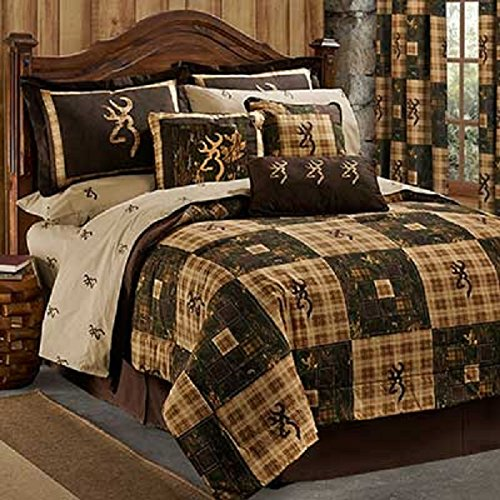 Browning Country 5 Piece King Size Comforter Bedding Set & Matching Shower Curtain (1 Comforter, 2 Shams, 1 Bedskirt, 1 Square Pillow, 1 Shower Curtain) - Hunting Cabin Lodge Rustic - Shower Mountain Square
