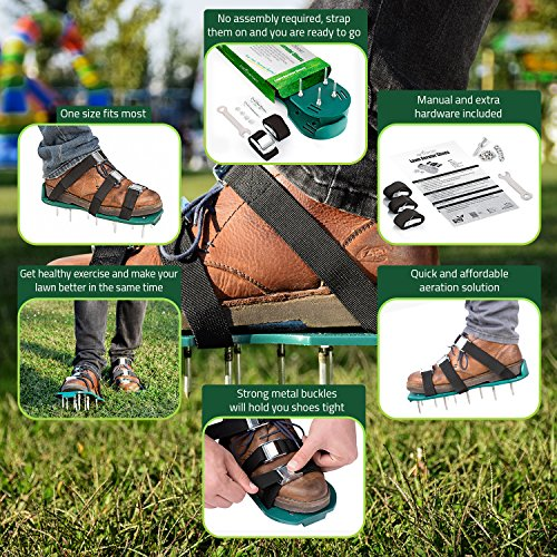 Lawn Aerator Spike Shoes – For Effectively Aerating Lawn Soil – Comes with 3 Adjustable Straps with Metallic Buckles – Universal Size that Fits all – For a Greener and Healthier Garden or Yard. by Abco Tech (Image #5)