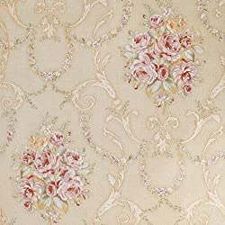 SICOHOME Flower Peel Stick Wallpaper,11 Yards,Beige