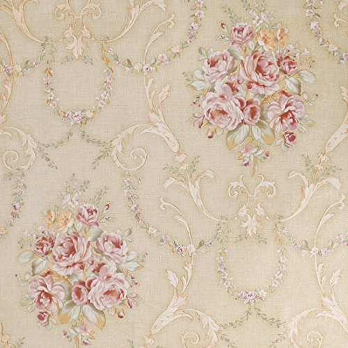 SICOHOME Flower Peel Stick Wallpaper,11 Yards,Beige
