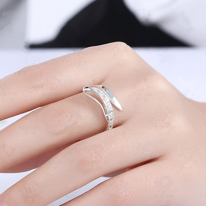 Amazon.com: BODYA Silver Wave Swirl Ribbon Clear Cz Love Open Heart ...