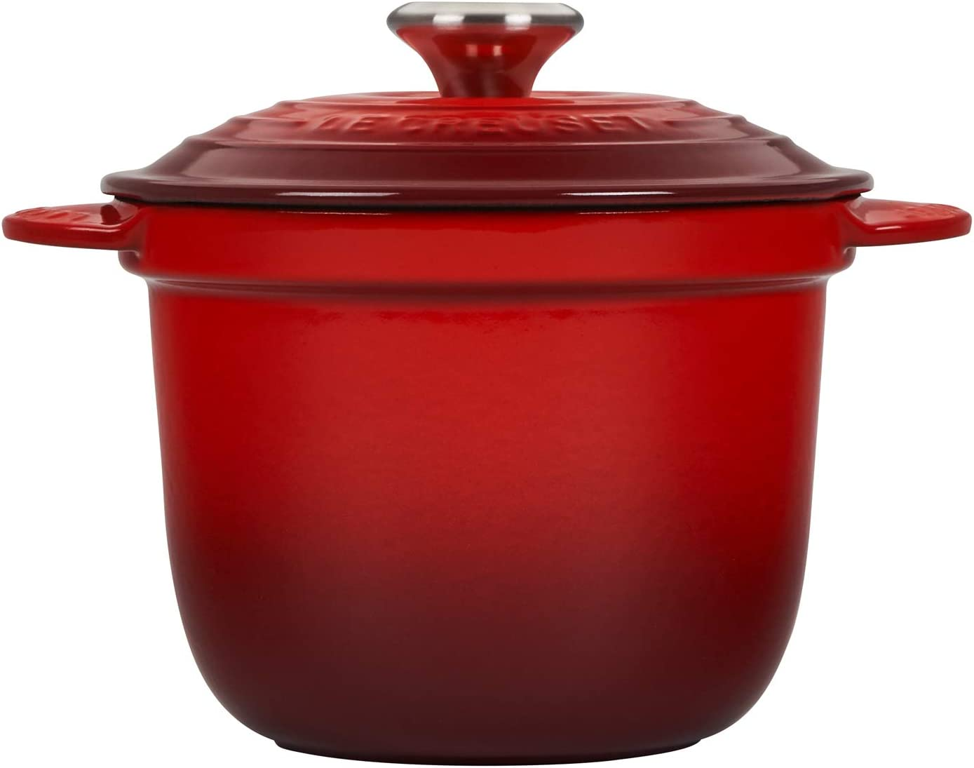 Le Creuset LS4101S-1867SS Enameled Cast Iron Rice Pot with Stoneware Insert, 2.25-Quart, Cerise