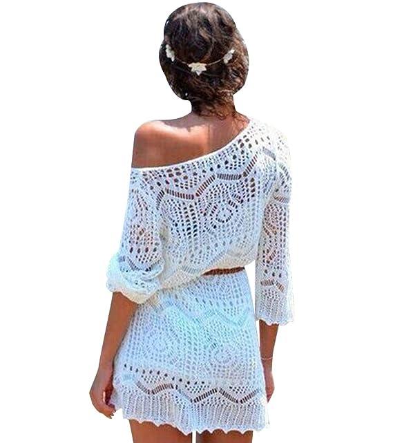 V Isshe Encaje Vestidos Crochet Corto Vestido Cover Verano
