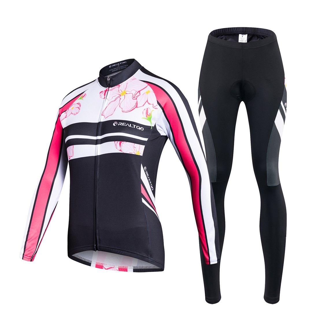 GWELL Radtrikot Damen Set Fahrradbekleidung Frühling Herbst Fahrradtrikot Langarm und Radhose mit 3D Sitzpolster Rosa