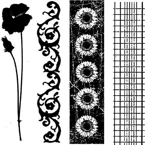 - Garden Flower Border Trims Stampington And Co Wood Mount Rubber Stamp cube
