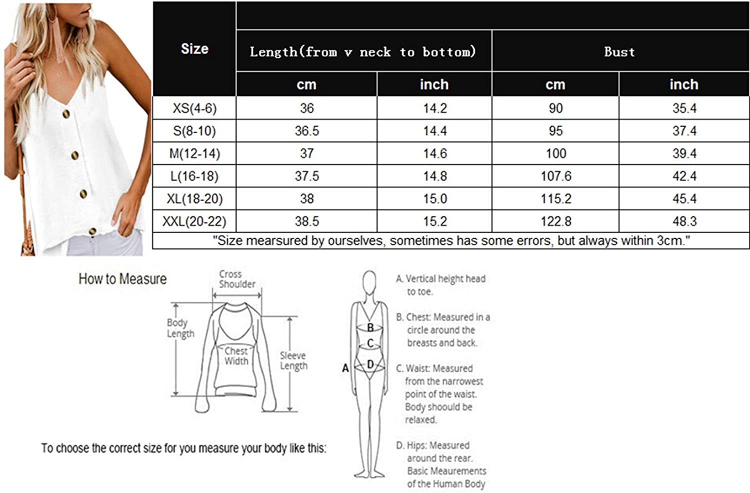 Roshop Womens Button Down V Neck Loose Sleeveless Strappy Cami Tank Tops Casual Shirts Blouses