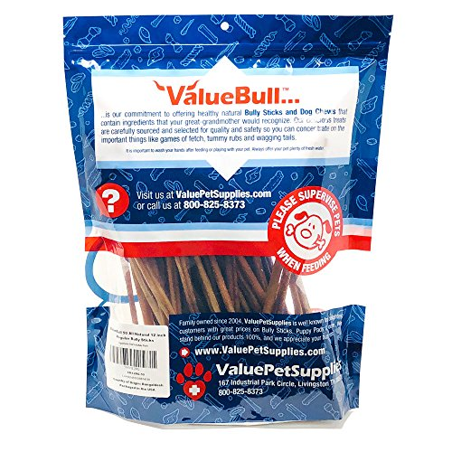 ValueBull All Natural 12 Inch Regular/Thin Bully Sticks for Dogs, 50 Count by ValueBull (Image #3)