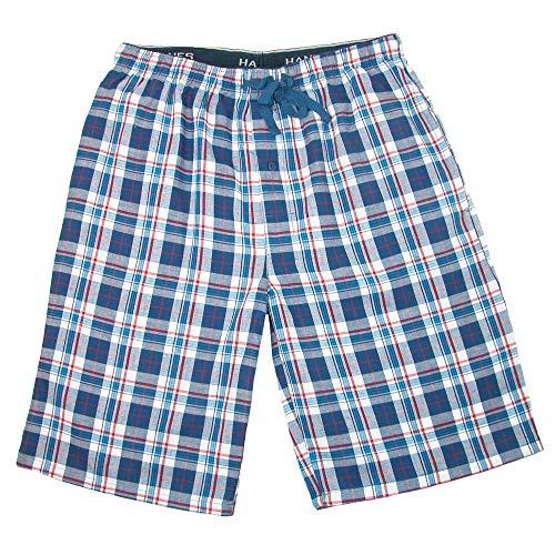 (Hanes Men's Cotton Madras Drawstring Sleep Pajama Shorts, 2XL, Blue Art)