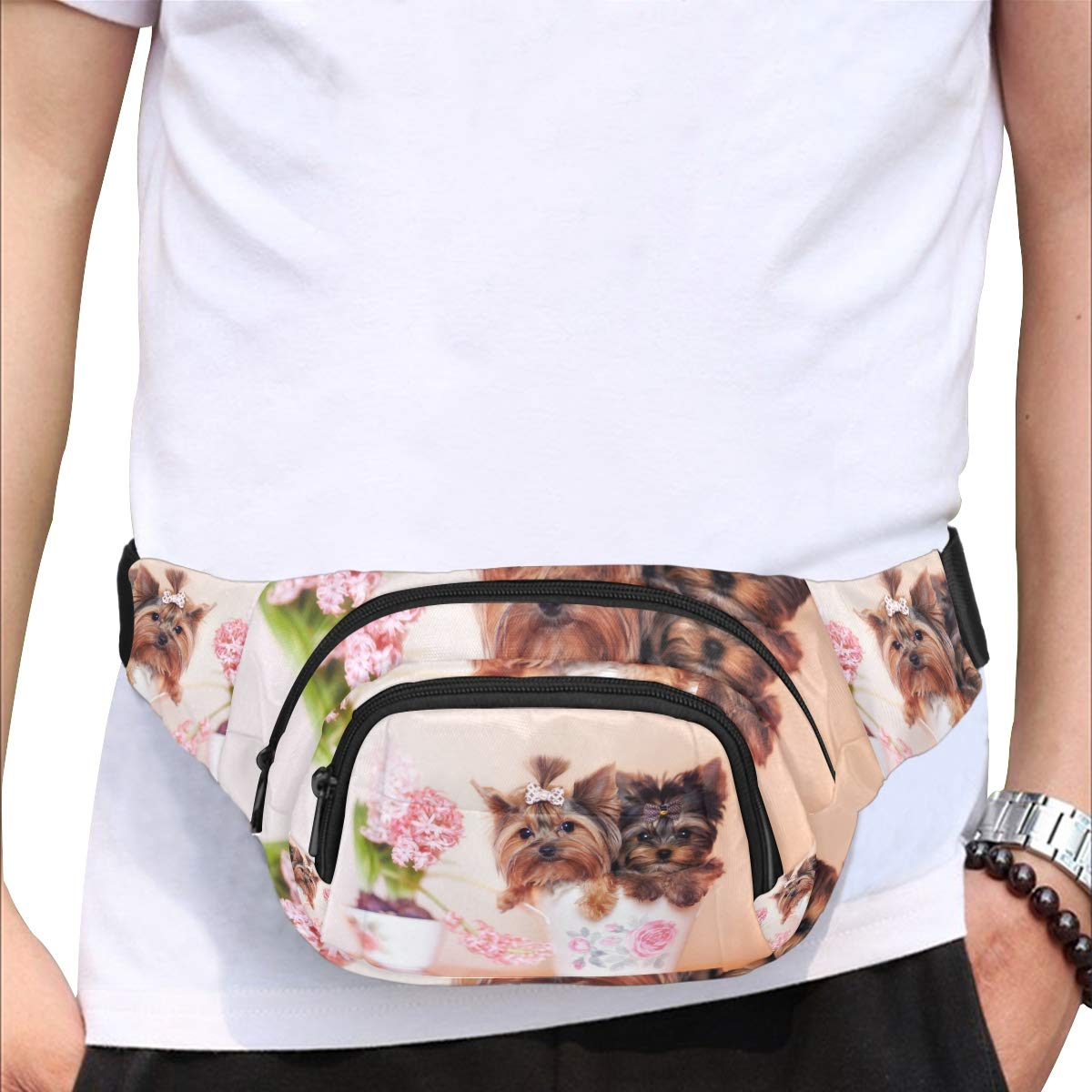 Beautiful Puppy Sitting In The Cup Fenny Packs Waist Bags Adjustable Belt Waterproof Nylon Travel Running Sport Vacation Party For Men Women Boys Girls Kids