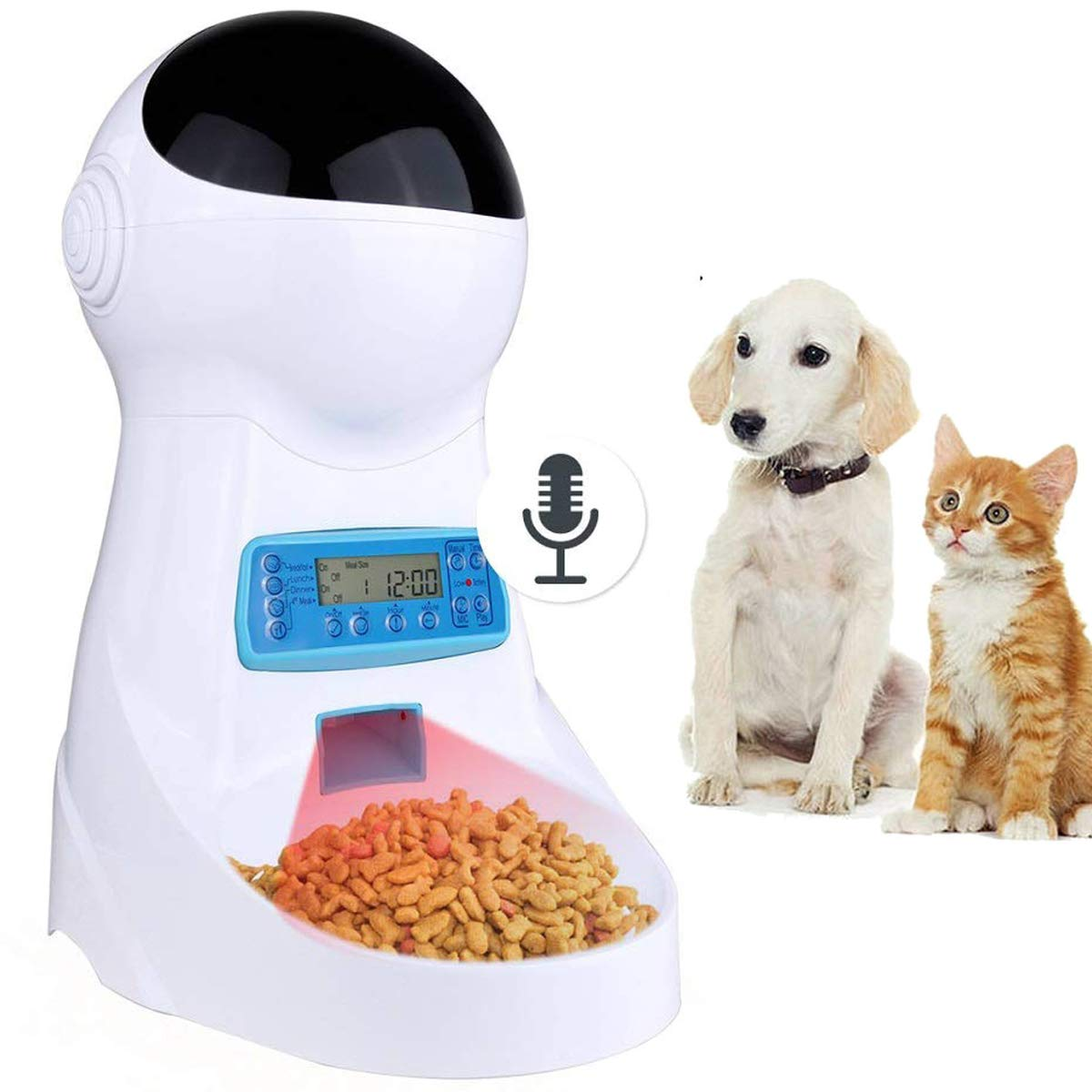 Sailnovo Automatic Cat Feeder Pet Dog Feeder Food Dispenser with Timer Programmable Voice Recorder and Portion Control, 4L Auto Pet Feeder for Cats Dogs by Sailnovo