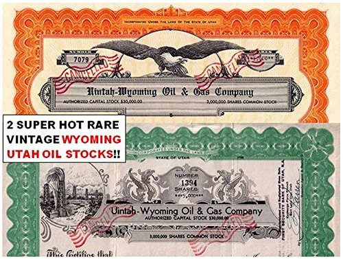 1952 PAIR OF ORIGINAL 1950's UTAH - WYOMING GAS and OIL STOCKS (1 with GUSHER!) OUR EXCLUSIVE! About ()