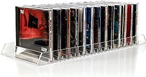 CD Storage Holder Rack Display – Premium Organizer Clear Acrylic CD-DVD Stand Holds 25 Standard CD Jewel Cases