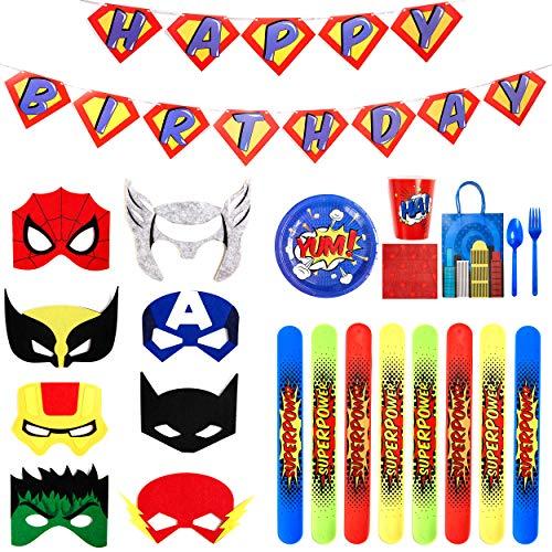 Superhero Party Supplies - Felt Masks for Kids -Superhero Birthday Party Favors Set - Slap Bracelets - Favor Bags - Banner & Decorations - Plates Cups Napkins Silverware ()