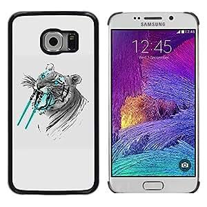 Planetar® ( Saber tooth Tiger Funny ) Samsung Galaxy S6 EDGE / SM-G925 / SM-G920A / SM-G925T / SM-G925F / SM-G925I Fundas Cover Cubre Hard Case Cover