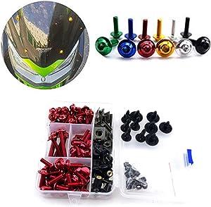 Motorcycle Kits Complete Bolt Fairings Bolt Kits screw Clips For Yamaha Honda Suzuki Bmw Kawasaki Ktm Ducati MT07 MT09 Z1000 CBR1000RR CBR600RR (Red, 1)