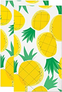 Pineapple Napkins for Tiki, Hawaiian, Luau, Tropical, Yellow Themed Birthday, Wedding, Anniversary Party | Paper Napkin Set for use with Cocktail Beverage, Luncheon, Dessert | 2 Packs Of 16 Napkins