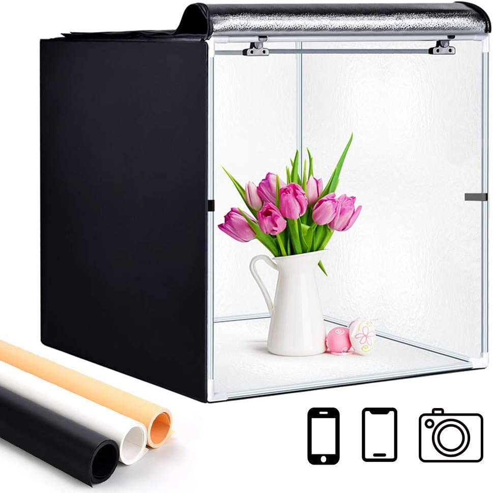 Light Box Photography, GLZ Photo Studio Box Portable Foldable 24 x 24 Inch Photography Shooting Tent Kit with Dimmable and Movable LED Lights, Carry Bag and 3 Color Backdrops (White Black Gold)