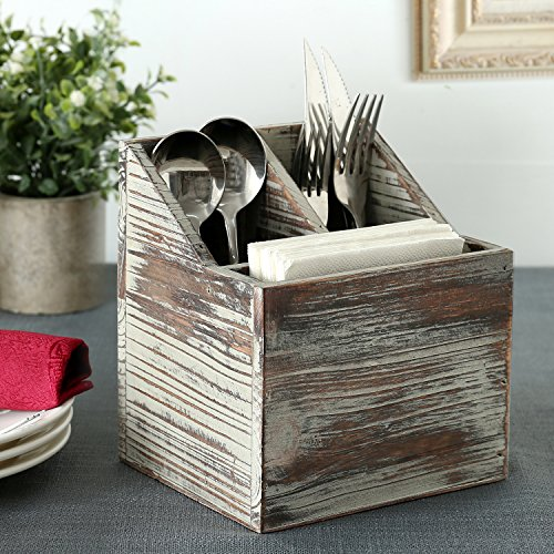 Rustic Torched Wood Tabletop Flatware, Utensil Caddy, Cutlery Organizer and Napkin Holder, 3 Compartment by MyGift (Image #1)