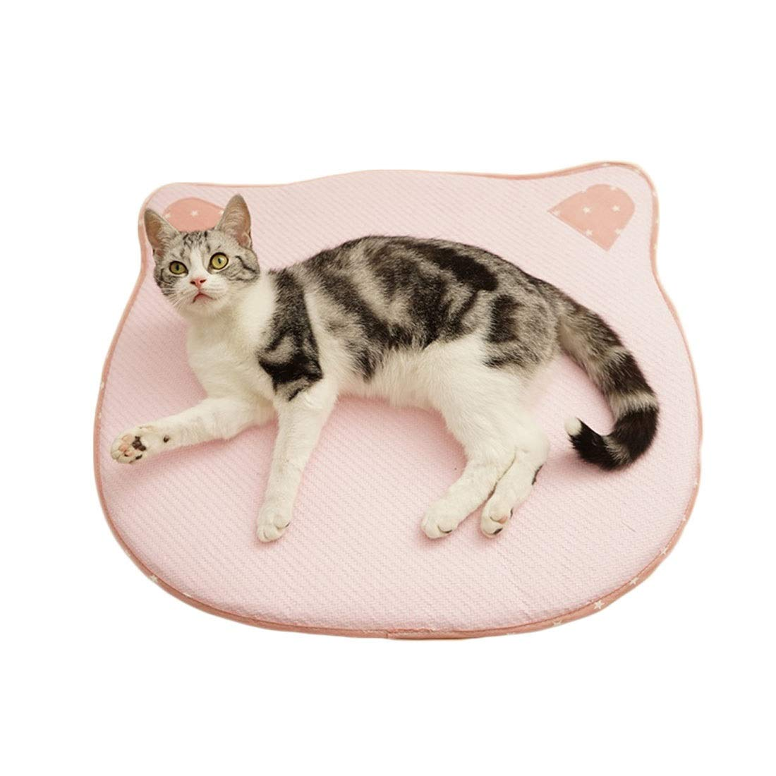 L Pink day-us Pet Mat Cat Dog Mat Round Head Cat Head Mat Summer Mat Summer Pet Supplies Pink Pad Mat (Size   L)