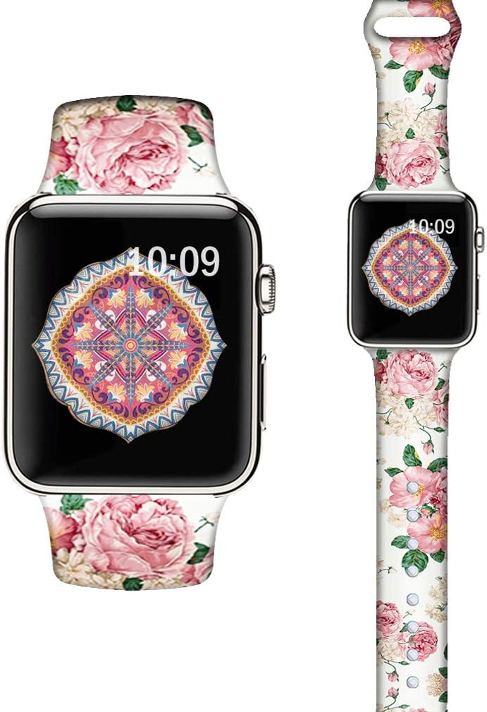 LAACO Silicone Sport Bands Compatible with Apple Watch 40mm for Women, Floral Sport Band, Pink Rose Fadeless Pattern Printed Replacement Strap Bands Compatible with iWatch 38mm Series 5 4 3 2 1