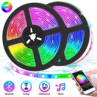 Bluetooth LED Strip Lights 32.8ft with APP Control,5050 Flexible RGB Neon Room Lights Color Changing Self Adhesive LED Music Sync Tape Lights with Remote for Bedroom Kitchen TV Gaming Mood Lighting