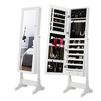 Popamazing Jewellery Cabinet Free Standing Lockable Large Storage Capacity Full  Length Mirror Jewelry Armoire 47x38x150.