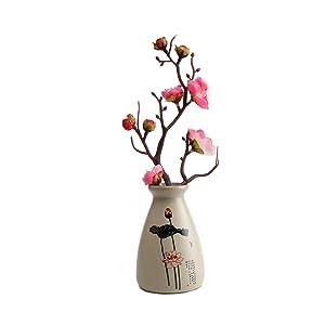 T4U Petit Vase Floreros en Céramique Décor à la Maison de Style Chinois