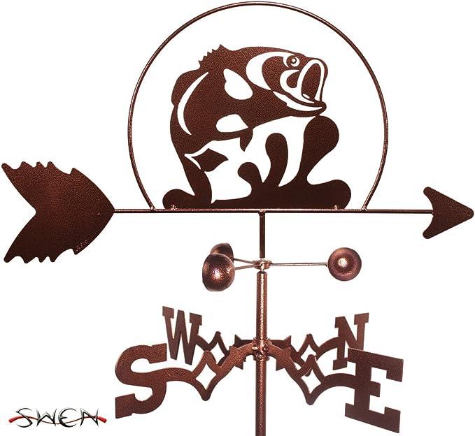 SWEN Products Hand Made Fisher Fishing Fish BOY Flat Post Mount Weathervane ~New~