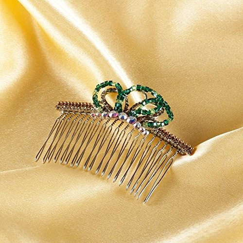 Generic Gold-plated silver alloy hair comb classic diamond crown tiara tiara comb crystal ornaments crystal 95 interposed