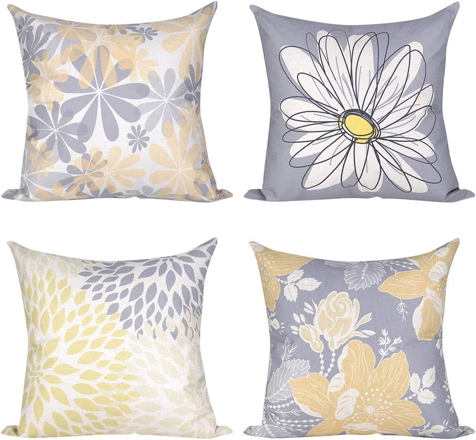 "ionlyou Pillow Covers 18""x18"", Set of 4 Pillow Covers Modern Throw Pillow Covers Gray Yellow Flower Fall Pillow Covers Cotton Linen Neutral Decorative Pillow Covers for Sofa Couch Chair"