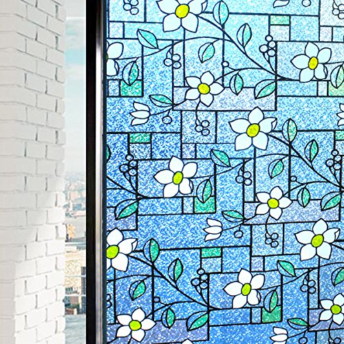 DUOFIRE Stained Glass Window Film Color Flower Pattern Privacy Window Film Decorative Glass Film No Glue Anti-UV Window Sticker Non Adhesive For Bathroom Bedroom Living Room 23.6in. x 118in. DP003-1