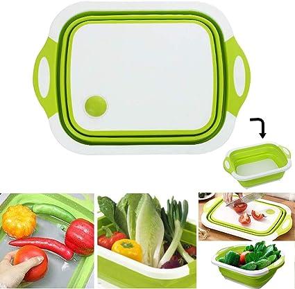 Shackcom 3 en 1 Tabla de Cortar Plegable Multifunción Portátil-Cesta de Drenaje Plegable-con Orificio de Drenaje para Verduras Frutas,para Cocina ...
