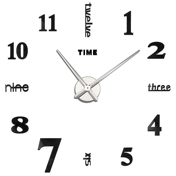 Yosoo Reloj de Pared 3D con Números Adhesivos DIY Bricolaje Moderno  Decoración Adorno para Hogar Habitación 7a3f3251f272