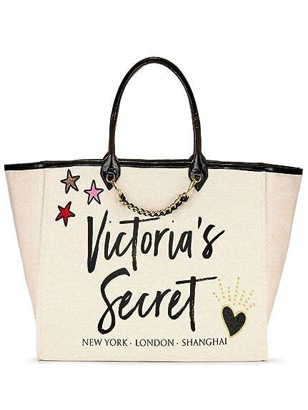 75d428b2e6 Victoria s Secret Patch City Tote Bag Cream Black Travel Laptop Bag Uni Bag