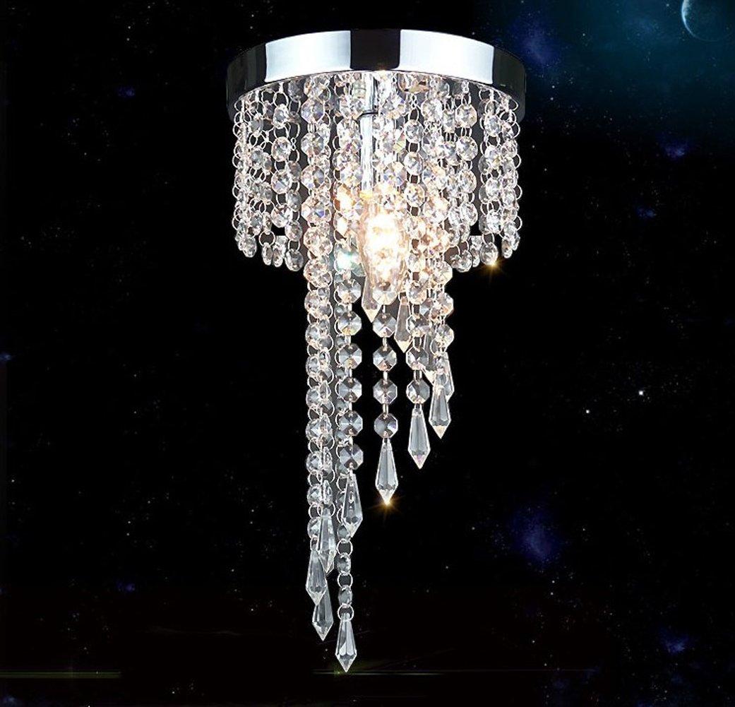 Modern Mini Crystal Ceiling Light Fixture Crystal Chandelier Pendant Lights for Hallway Porch (Silver)