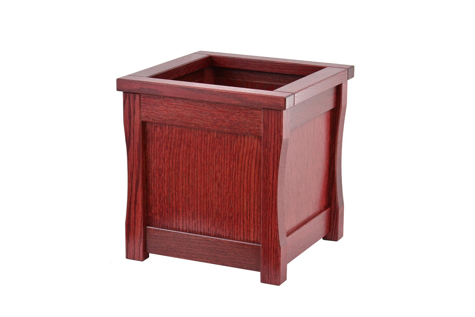 Medium wooden trash can. Mission style. Oak. TE-1366