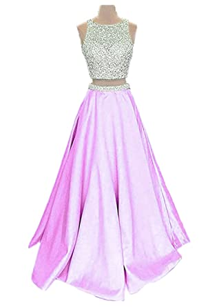 Callmelady Satin Two Piece Prom Dresses Long Evening Gowns For Women Formal - Pink - 6