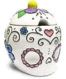 "Ceramic Sugar Skull Sugar Bowl with Hearts & Flowers-4.5"""