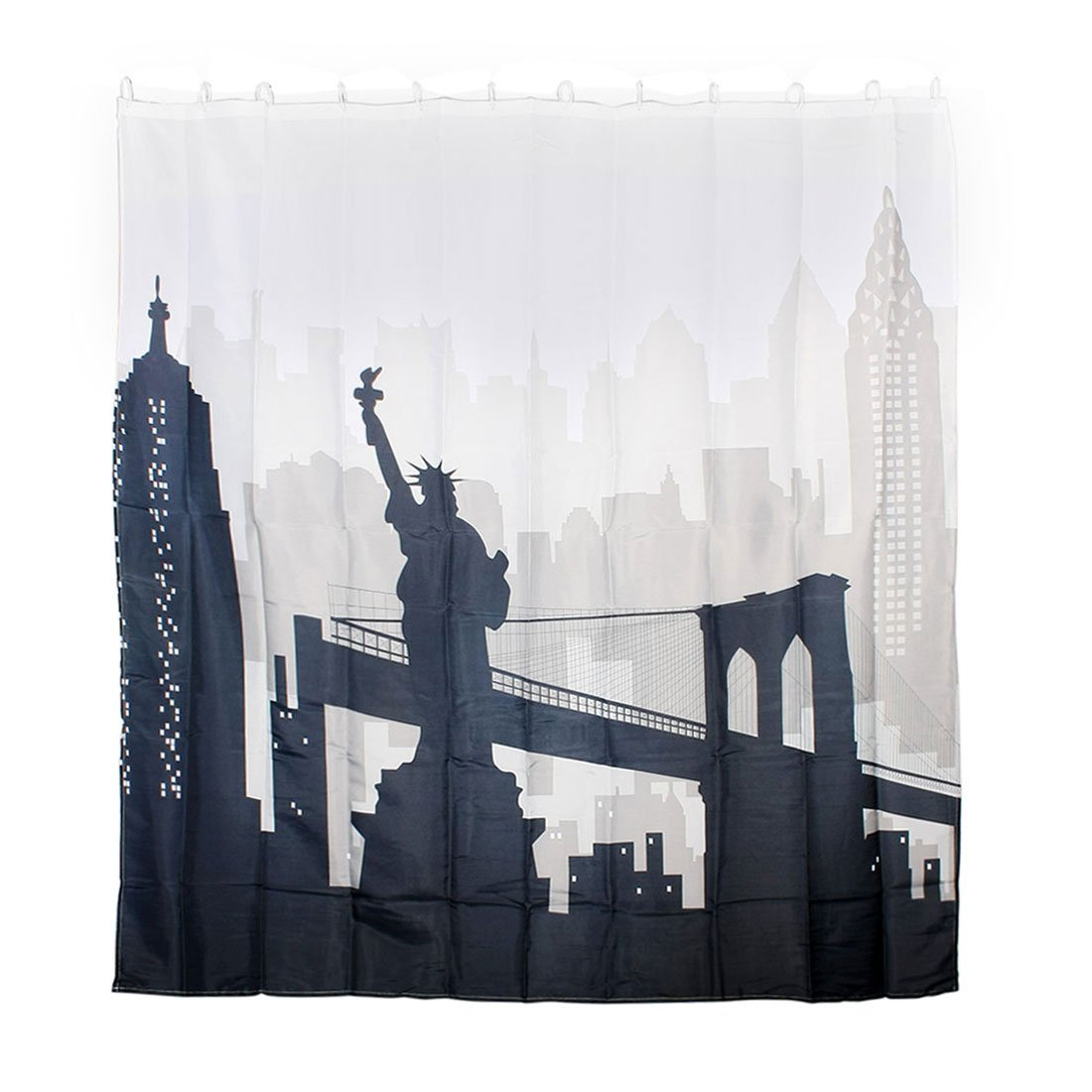 uxcell City Silhouette Print Home Hotel Shower Bath Curtain w 12 Hook Rings
