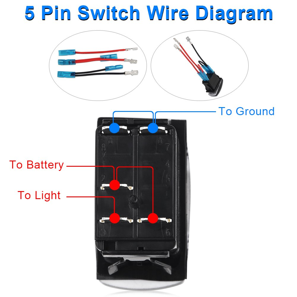 Waterwich 5 Pin Rear Lights Illuminated Rocker Toggle Switch Lighted Spst Wiring Diagram Waterproof With Jumper Wires Set Dc 20a