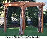 A & L Furniture Sundown Agora Pergola Curtains, 8' x 8', Gray Stripe