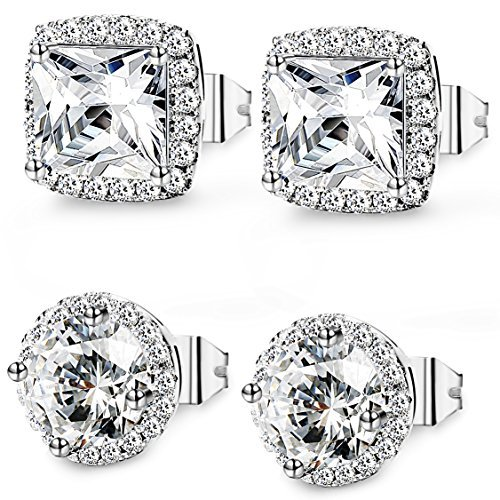 Thunaraz+2+Pairs+Halo+Stud+Earrings+18K+White+Gold+Plated+Round+Square+Brillant+Cut+Earrings+with+Gift+Box