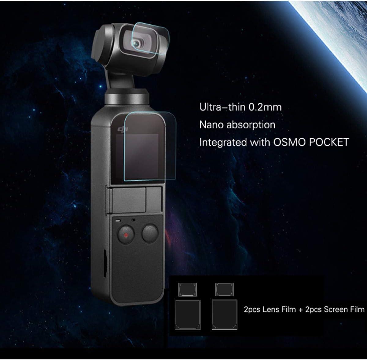 2PCS Screen Film Screen Protector Ultra-Thin Glass Screen Protector Foils for DJI Osmo Pocket Handheld Gimbal Camera Accessory Tineer 2PCS Lens Film