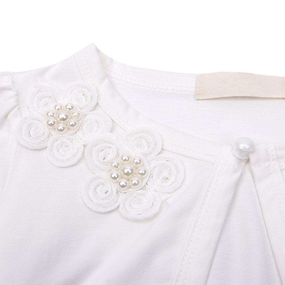 MSemis Little Girls Long Sleeve Beaded Flower Bolero Jacket Shrug Short Cardigan Wedding Party Cover Up